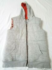 Lands' End Boys M Size10-12 Cotton/Polyester Lined Hooded Vest - Gray w/pockets