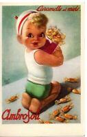 🔴 cartolina pubblicitaria caramelle miele Ambrosoli anni 50 GINO BOCCASILE