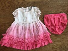 DKNY baby girl 6M pink  SILK ombre ruffled short sleeve dress diaper cover