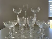Set of 17 Tiffin Franciscan Crystal #17644 LISETTE Champagne Goblet Sherbet