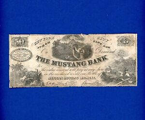 1800'S 50 NEW YORK CITY PARK ROW THE MUSTANG BANK - VERY RARE AD NOTE