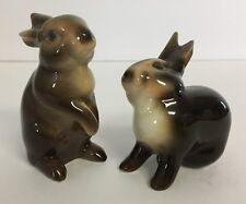 Set of 2 Vintage Goebel Brown Bunny Rabbit Figurines Stamped West Germany Easter