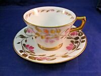 SMALL HM SUTHERLAND TEA CUP & SAUCER - GARLAND OF PINK FLOWERS & LEAVES -ENGLAND