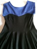 FOREVER NEW THICK JERSEY DRESS BLUE AND BLACK FLARED SWING SKIRT SIZE 6-8.