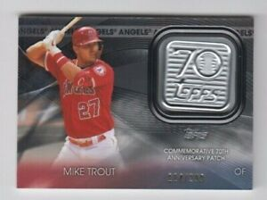 (2) Mike Trout 2021 TOPPS SERIES 1 70TH ANNIVERSARY LOGO PATCH BLACK /299 ANGELS