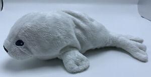 "Ikea Klappar white baby Seal Plush Stuffed Animal Baby Grey Eyes Small 9"""