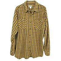 Vintage Haband Mens Shirt XL Gold Brown Plaid Soft Flannel Long Sleeve Button Up