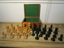 J. Jaques & Son Staunton Weighted Boxwood & Ebony Chess Set For Restoration A/F