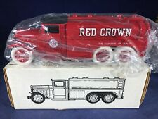 T-73 ERTL 1:38 SCALE DIE CAST BANK - 1930 DIAMOND T TANKER TRUCK - RED CROWN