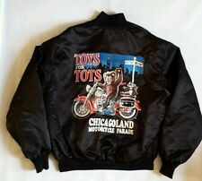 Vintage Toys For Tots Chicagoland Motorcycle Parade Satin Jacket Size L