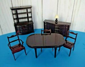 Vintage Marx Dollhouse Dining Room Furniture-7 Pieces
