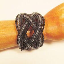 "2"" Wide Black Hematite Handmade Statement Braided Seed Bead Bali Cuff Bracelet"