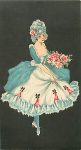 Victorian Woman Holding Pink Roses - Old & Original HAT BOX Label, c. 1910