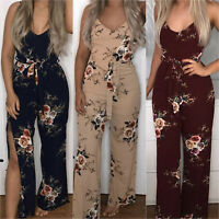 Womens Sleeveless Strappy Floral Jumpsuit Party Cocktail Casual Playsuit Romper