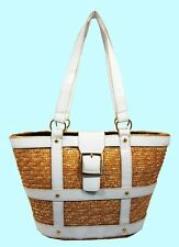 Beige Straw & White Leather Shoulder Bag * FREE SHIPPING SERVICE *
