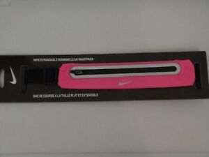 NIKE Expandable Running Lean Waistpack Adjustable Pink Stretch Mesh Fabric Black