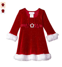 Bonnie Baby Baby Girls Santa Christmas Holiday Dress, Red, Velvet, 3-6 Months