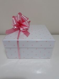 Pink Baby Cellophane Gift Wrap Hamper Kit, Square White Box, Tissue, Bow, Tag