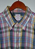 BROOKS BROTHERS Sport Shirt Size Large Oxford Plaid Cotton
