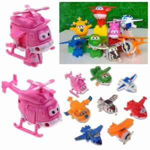 4/8/12Pcs Animation Super Wings Airplane Transformable Robot Action Figures Toy