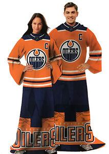 NHL Comfy Throw, The Blanket With Sleeves, Edmonton Oilers Orange Version