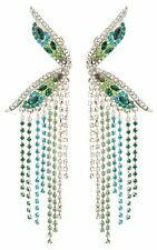 Zest Clip-On Swarovski Crystals Ear Climber Earrings Aqua