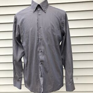 Mens Boss Hugo Boss brown shirt, size 15 1/2 / L, made in Portugal