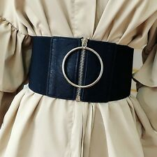 d1db6d231fc Women Punk Extra Wide Corset Metal Ring Dress Belt Zip Up Elastic Waistband  Chic