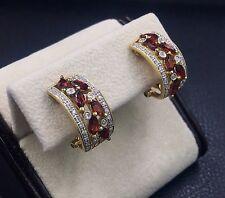 All-Natural Diamond & Red Garnet 14K Yellow Gold Omega Back Pierced Earrings