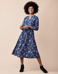 CREW CLOTHING Womens Lila Tie Dress Blue Floral A Line WLJ022 - New BNWT RRP £75