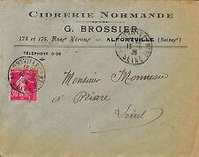 ALFORTVILLE ENVELOPPE G. BROSSIER CIDRERIE NORMANDE BIERE GRUBER 1925