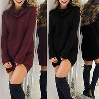 Mujer casual caliente suéter Jersey Vestido de Tortuga cuello largo blusa JerseK