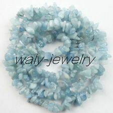 1 Stand Unique Blue Agate Chip loose bead 34inch 5-10mm QW-18