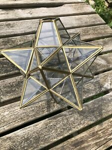 Vintage Brass and Glass Moravian Star Ceiling Light Shade