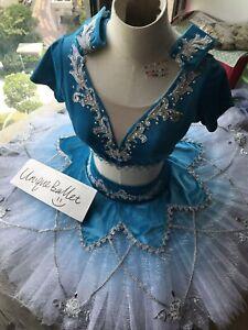 Blue Odalisque Le Corsaire Silver Trim Ballet Dance Classical 2 Pic TuTu Costume