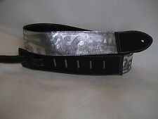 LEATHER BLACK WITH SILVER LETTERS BODY BASS, ACOUSTIC GUITAR STRAP