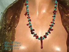 Artisan AWESOME TRIBAL NATURAL RED CORAL/TURQUOISE STRAND HANDMADE NECKLACE