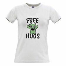 Festival Womens TShirt Free Hugs Slogan With Cute Monster Hippy Cuddles Love Art
