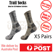 Trail Socks Crew Men Walking Hiking Work Sports Cotton Socks 5 Pairs
