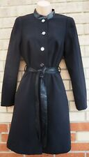 H&M BLACK LONG SLEEVE ALL BUTTONED MILITARY FAUX LEATHER BELTED COAT JACKET S