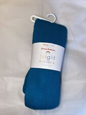 GIRL'S HANNA ANDERSSON BASIC RIBBED FOOTED Turquoise TIGHTS SIZE Teal 10 NWT