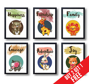ANIMAL POSTERS CHILDREN ROOM DECORATION Christmas Nursery Wall Art Prints A3 A4