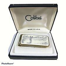 Colibri Gold vintage Golf Scrimshaw Money Clip Classic Americana USA 699