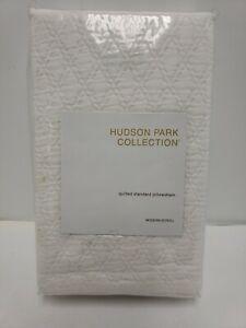 Hudson Park Collection Modern Scroll White Quilted Standard Pillowsham