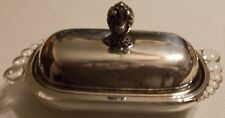 VINTAGE 1847 ROGERS BROS. SILVER PLATED TOP AND  GLASS BOTTOM BUTTER DISH