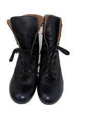 Chie Mihara black leather lace up heel boots Low Heels – size UK 9 /42 Brand New