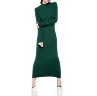 Hot Womens Full Length Knit Dress Turtleneck  Sweater Dress Wool Blend Autumn L