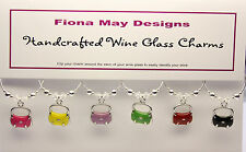 Wine Glass Charm Rings HANDBAGS with SWAROVSKI set of 6 birthday mothers gift