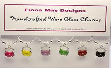 Wine Glass Charm Rings HANDBAGS with SWAROVSKI set of 6 birthday mothers gift