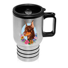 Doberman Red Cropped Stainless Steel 16oz Tumbler